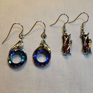 Two Pairs of Silvertone Iridescent Dangle Earrings